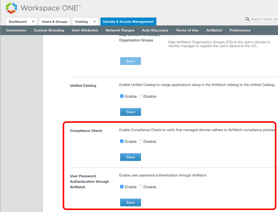 Enable Compliance Check and Authentication Through AirWatch
