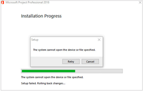 Microsoft Project Professional Installation error screenshot
