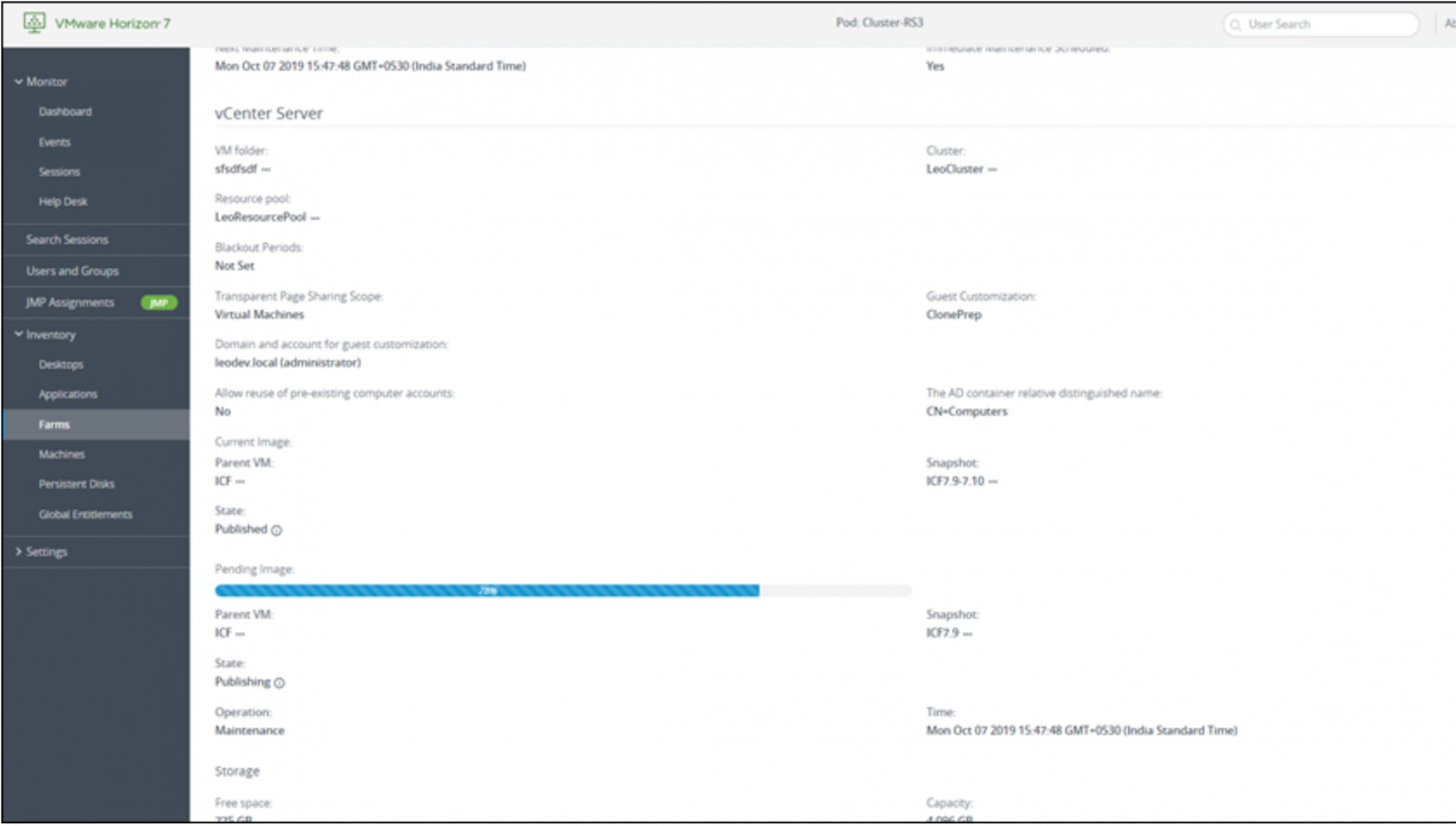 View Progress Bar during Instant Clone Publish on VMware Horizon 7