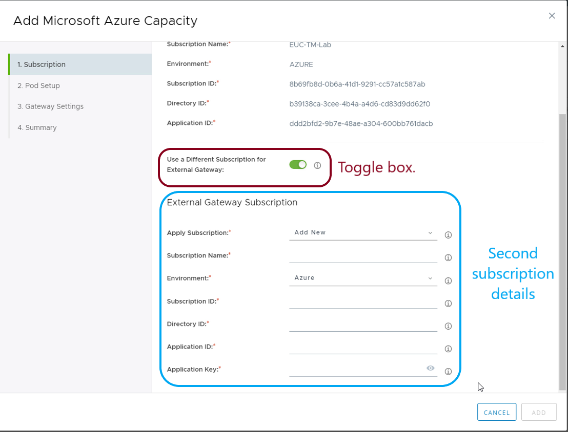 Using different Subscription for External Gateway in Horizon Cloud on Microsoft Azure