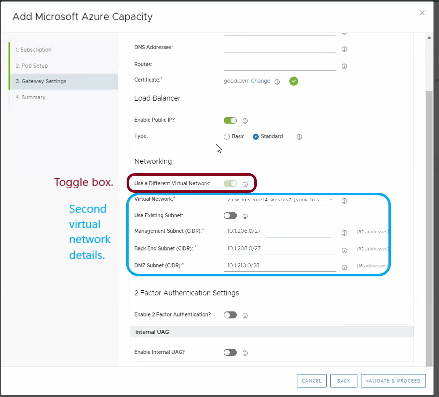 Use a Different Virtual Network in Horizon Cloud on Microsoft Azure