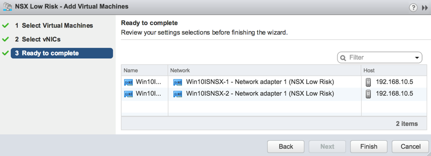 NSX Low Risk logical switch