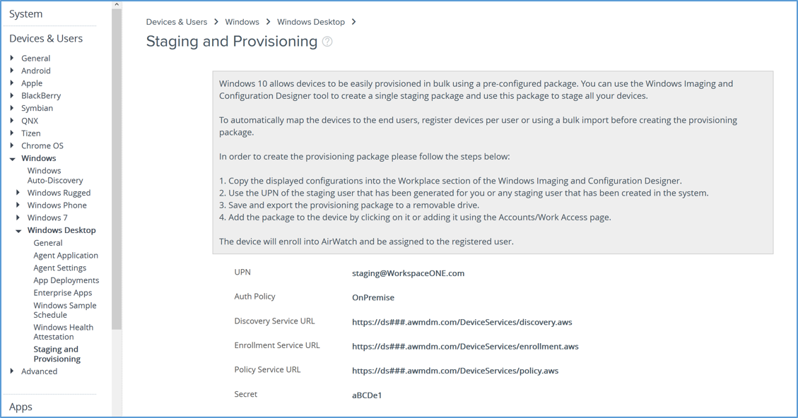 Staging and Provisioning