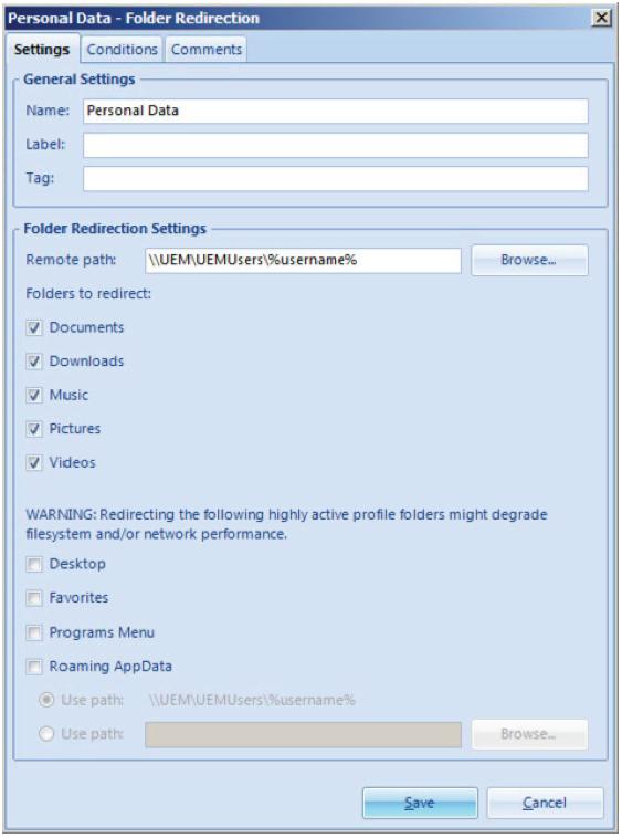 Boîte de dialogue Configuration de la redirection de dossiers User Environment Manager
