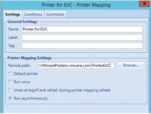 Onglet Paramètres de mappage d'imprimante indiquant le chemin d'accès à l'imprimante