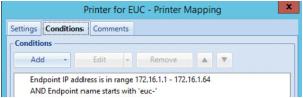 Conditions de mappage d'imprimante basées sur la plage IP et le nom du noeud final