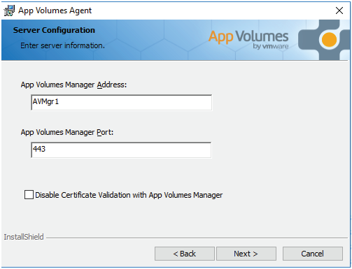 Server Configuration on App volumes agent