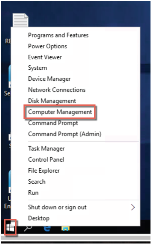 Computer Management on user desktop