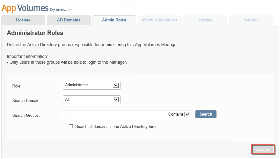 Configure roles on App Volumes