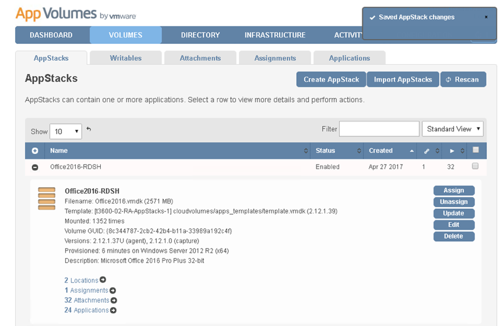 VMware App Volumes Management Console