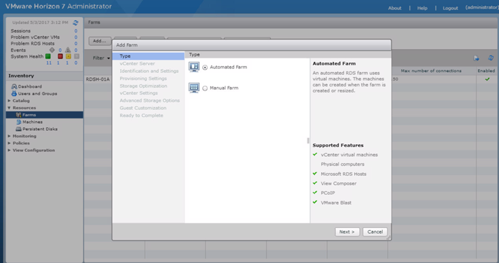 Adding an Automated RDSH Farm in VMware Horizon 7 Administrator