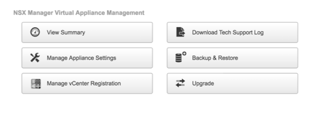 NSX Manager Virtual Appliance Management
