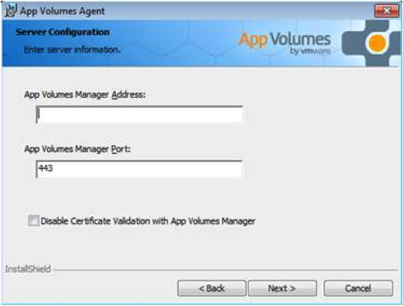 App Volumes Agent, Server Configuration