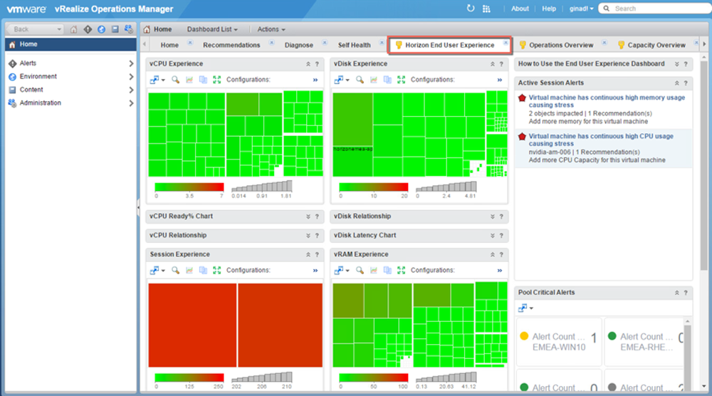 Horizon End-User Experience Dashboard in vRealize Operations for Horizon