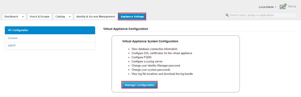 Select Manage Configuration