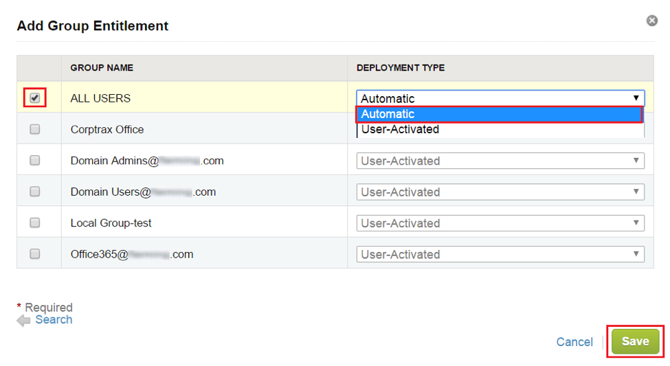 Add Group Entitlements and Select the Deployment Type