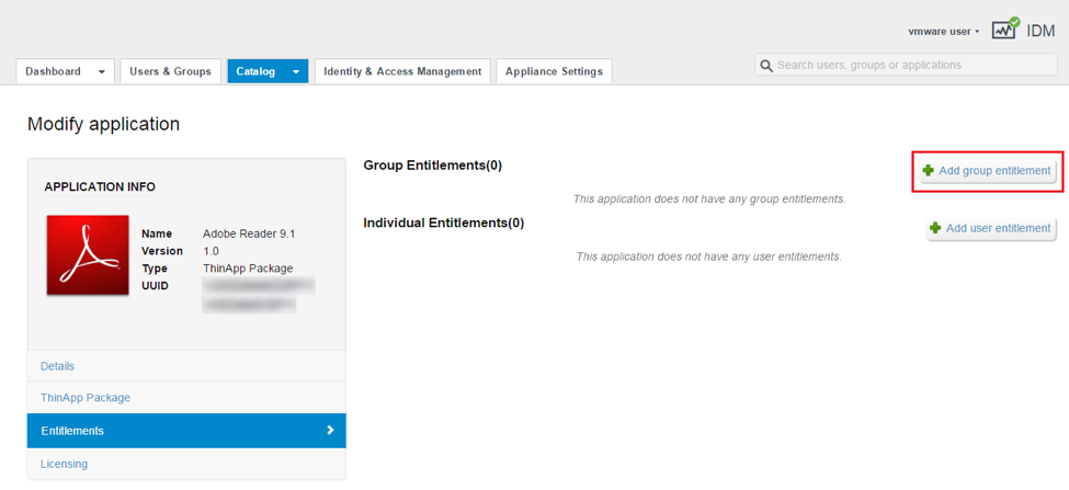 Add Group or User Entitlements