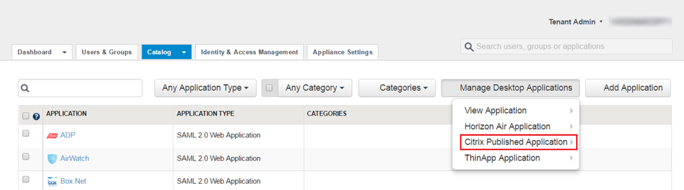 Select Citrix Published Application