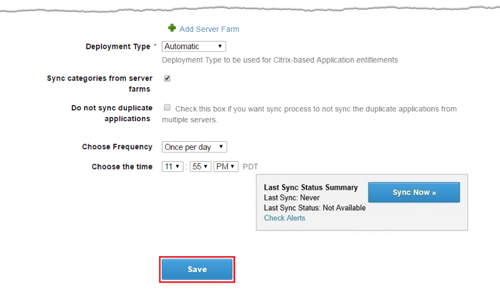Configure Synchronization Settings and Save