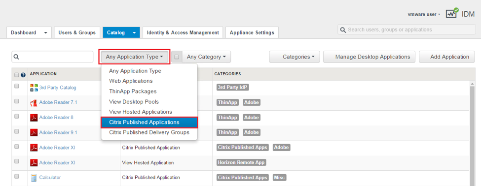 Filter to View Only Citrix Published Applications