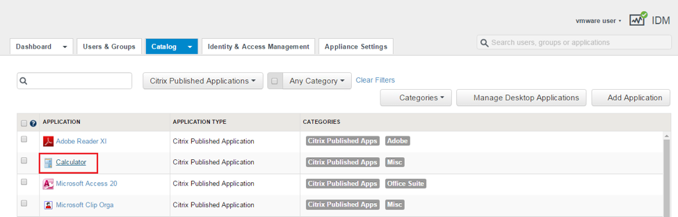 Select a Citrix Published Application