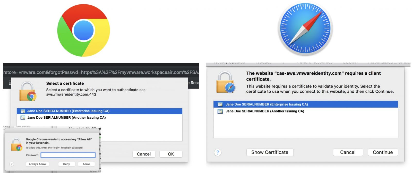 Multiple Prompts for Certificates without Identity Preferences