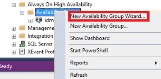 New availability group in SQL Server Management Studio