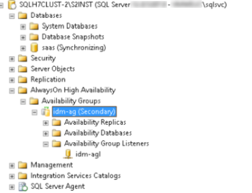 Secondary group in Microsoft SQL Management Studio