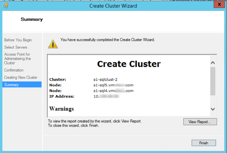 create a WSFC cluster