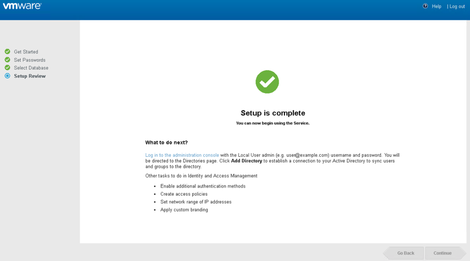 VMware Identity Manager complete setup