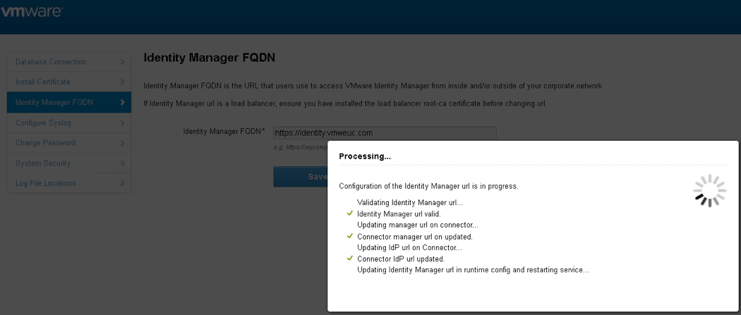 Configure the VMware Identity Manager FQDN