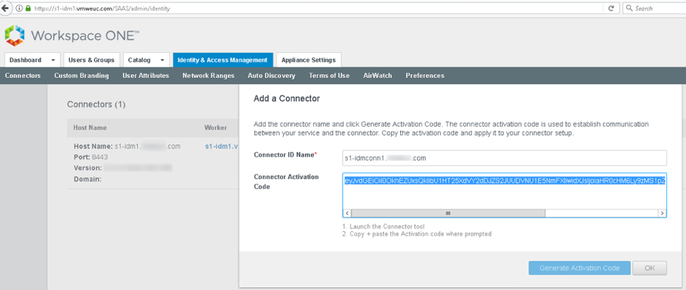 Prepare to connect to VMware Identity Manager Connectors