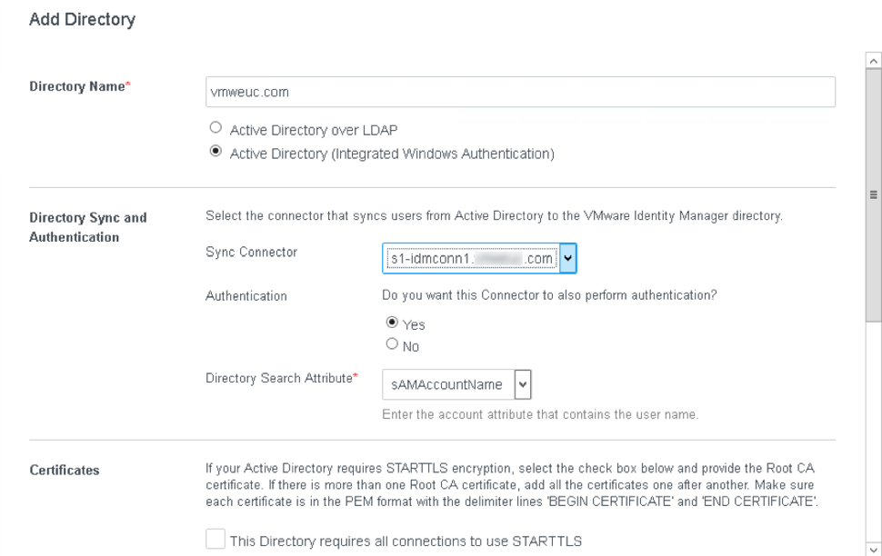 Add directory in VMware Identity Manager administration console