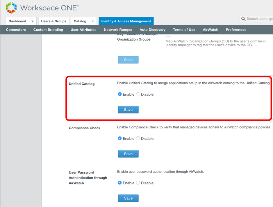 Unified Catalog in VMware Identity Manager