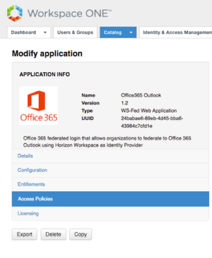 Office 365 in Workspace One