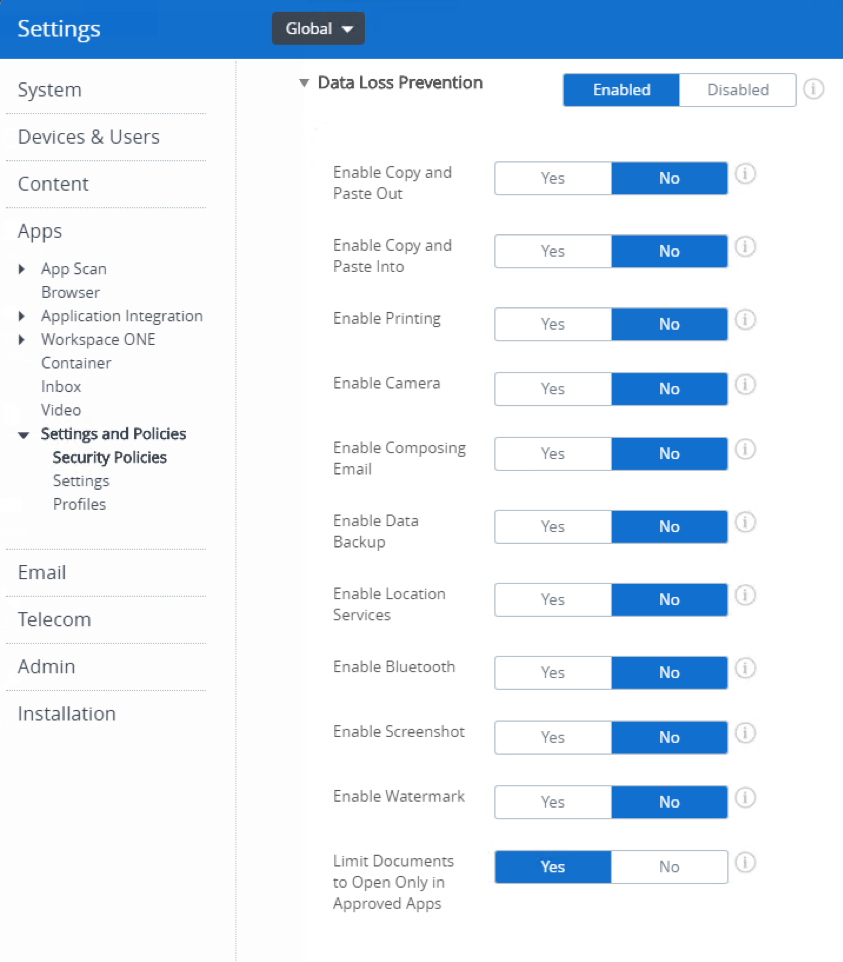 AirWatch Data Loss Prevention Settings