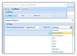 New Chrome Client Options to Endpoint Platform Condition