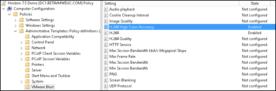 Group Policy Setting for H.264 High Color Accuracy
