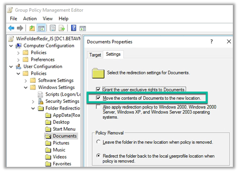 Example Folder Redirection GPO