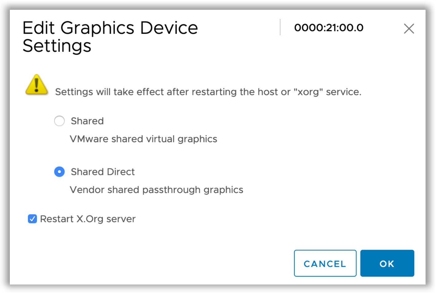 vendor shared passthrough graphics, graphics device settings, xorg
