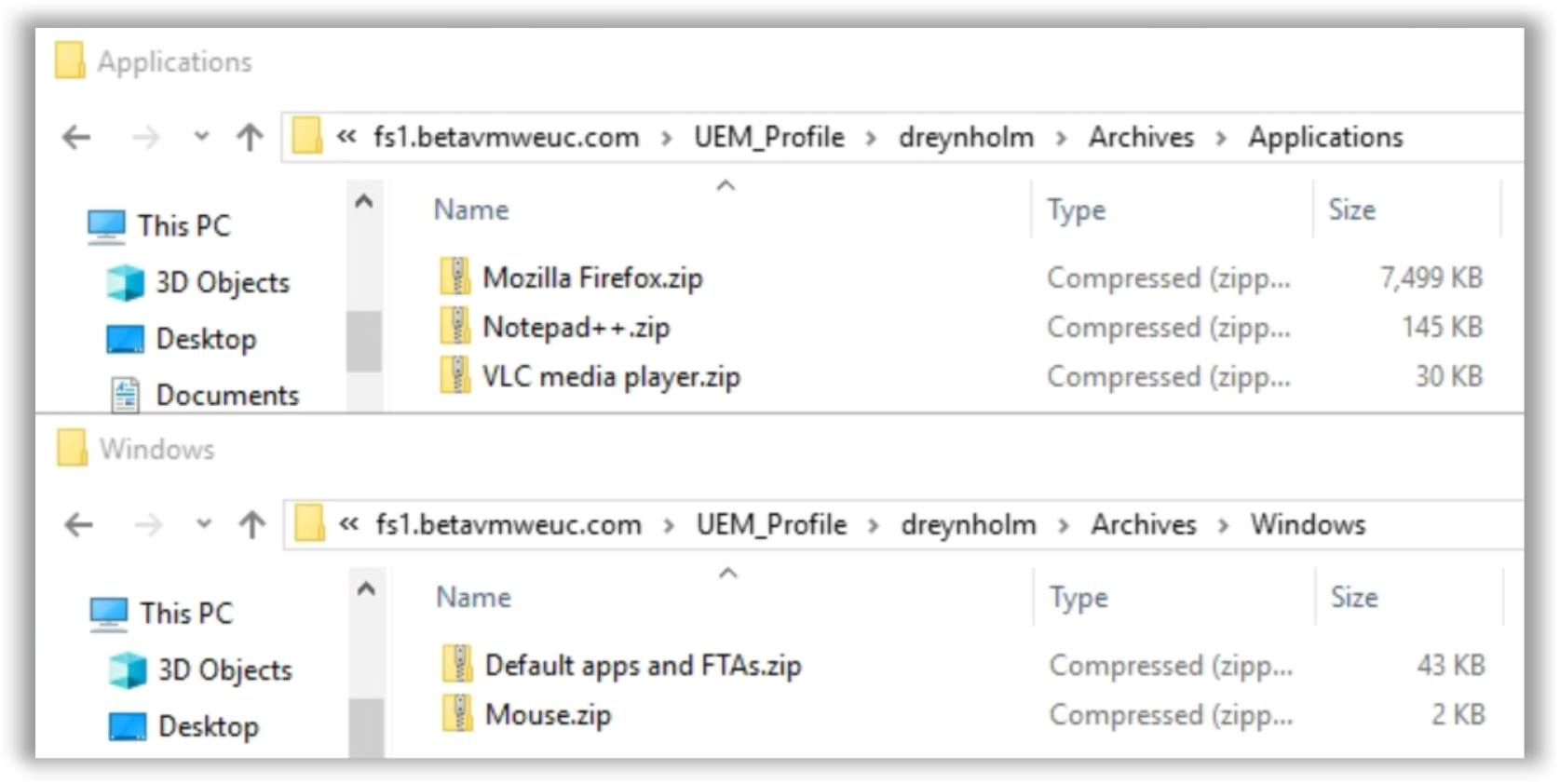Sample Windows and Application Profile Archives