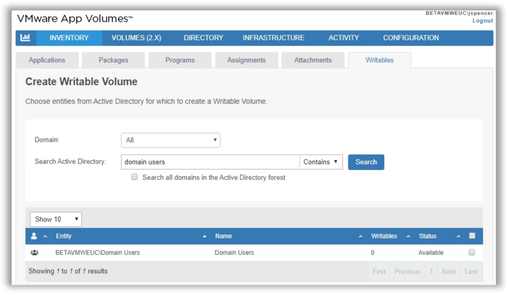Batch Create User Writable Volumes for Domain Group