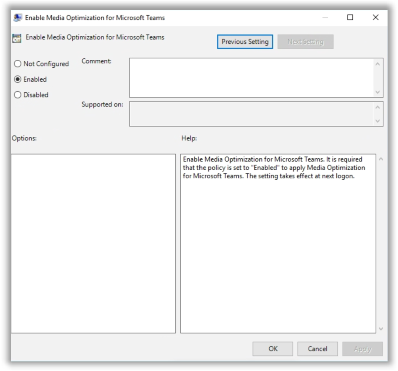 Enable Media Optimization for Microsoft Teams policy setting