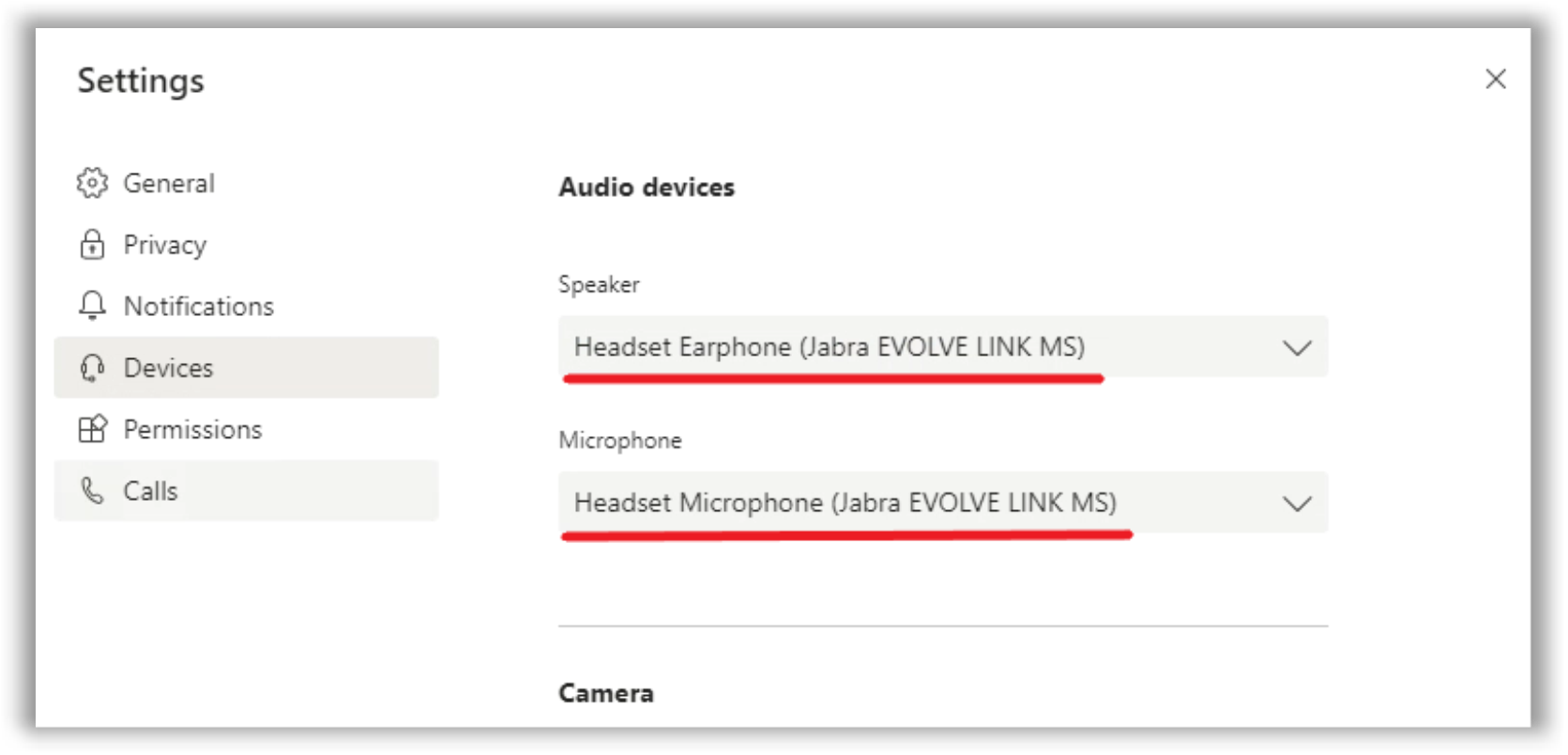 Microsoft Teams Device settings should display the names of audio devices from the client