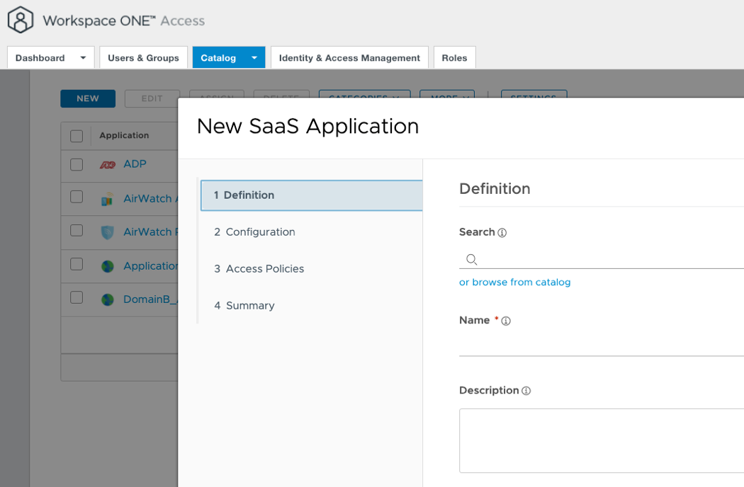 Administrator Adding a New SaaS Application to the Catalog