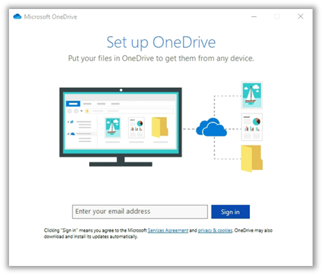 Sign in to OneDrive using the same Office 365 credentials
