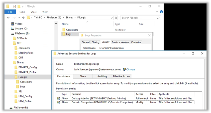 Configure the following NTFS permissions