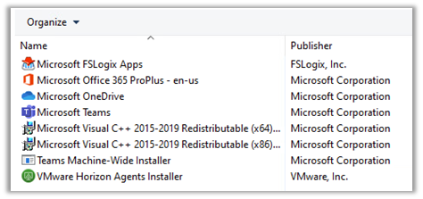 Verify that Microsoft FSLogix Apps appears in the list of installed applications