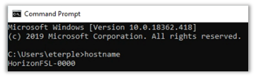 Run CMD.EXE and type hostname. Make note of the VM name you are connected to