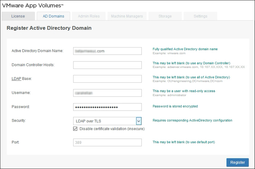 Register Active Directory Domain